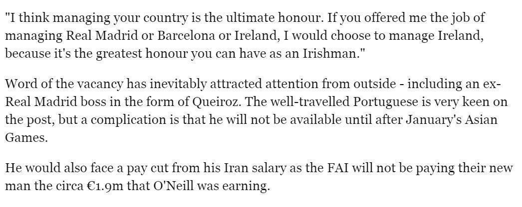 دستمزد بالای کی روش او را از ایرلند دور کرد
