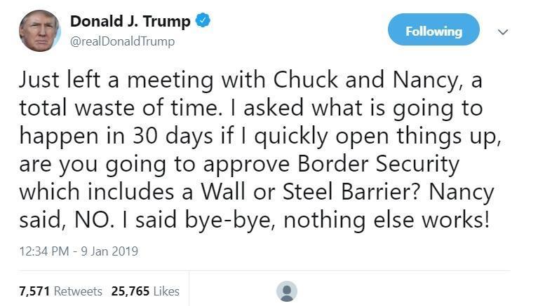ترامپ: جلسه با رهبران دموکرات کنگره اتلاف وقت بود